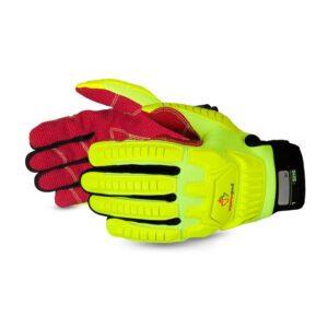 Superior Glove Clutch Gear® Anti-Impact Hi-Viz Yellow Back Mechanics Oilfield Glove with Cut-Resistant Palms